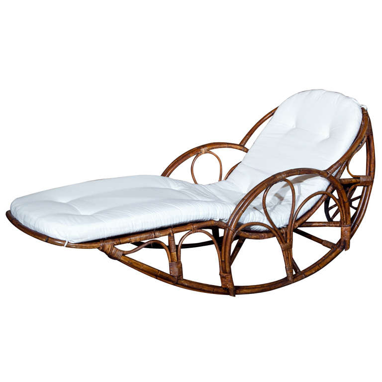 Vintage rattan rocking wheeled chaise at 1stdibs for Chaise x rocker
