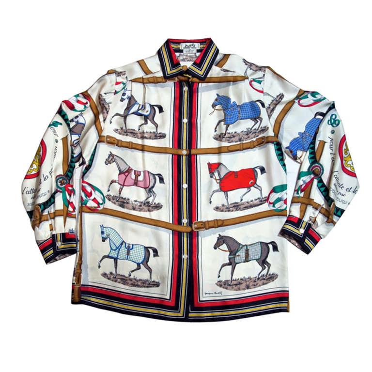 Hermes Equestrian Silk Blouse Presented By Funkyfinders At