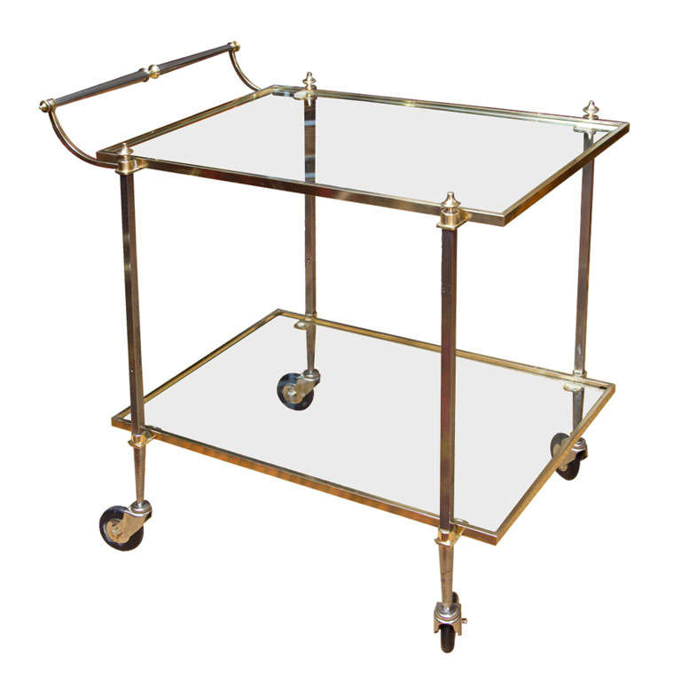 Elegant French Mid-Century Brass Bar Cart