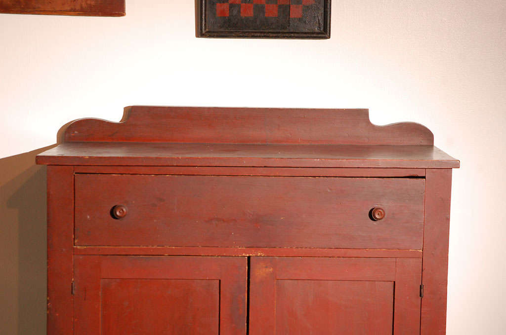 Pine 19thc Original Red Painted Jelly Cupboard From Maine For Sale