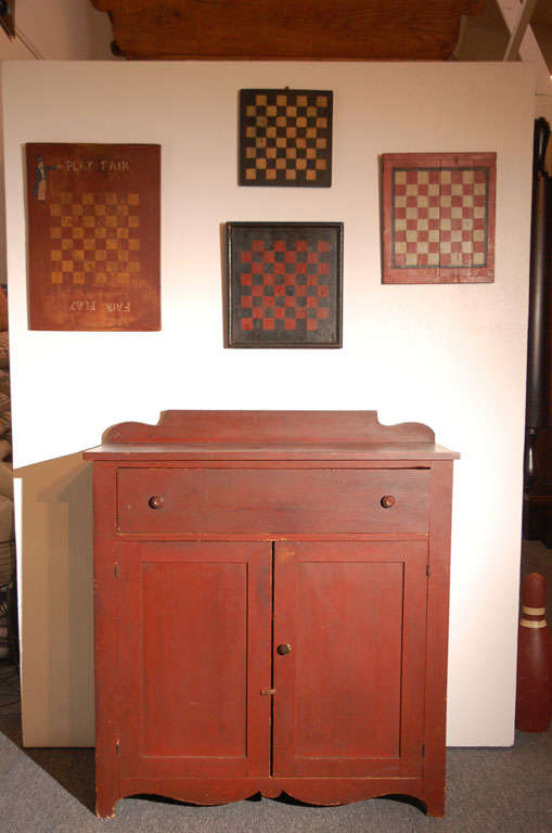 19thc Original Red Painted Jelly Cupboard From Maine For Sale 1