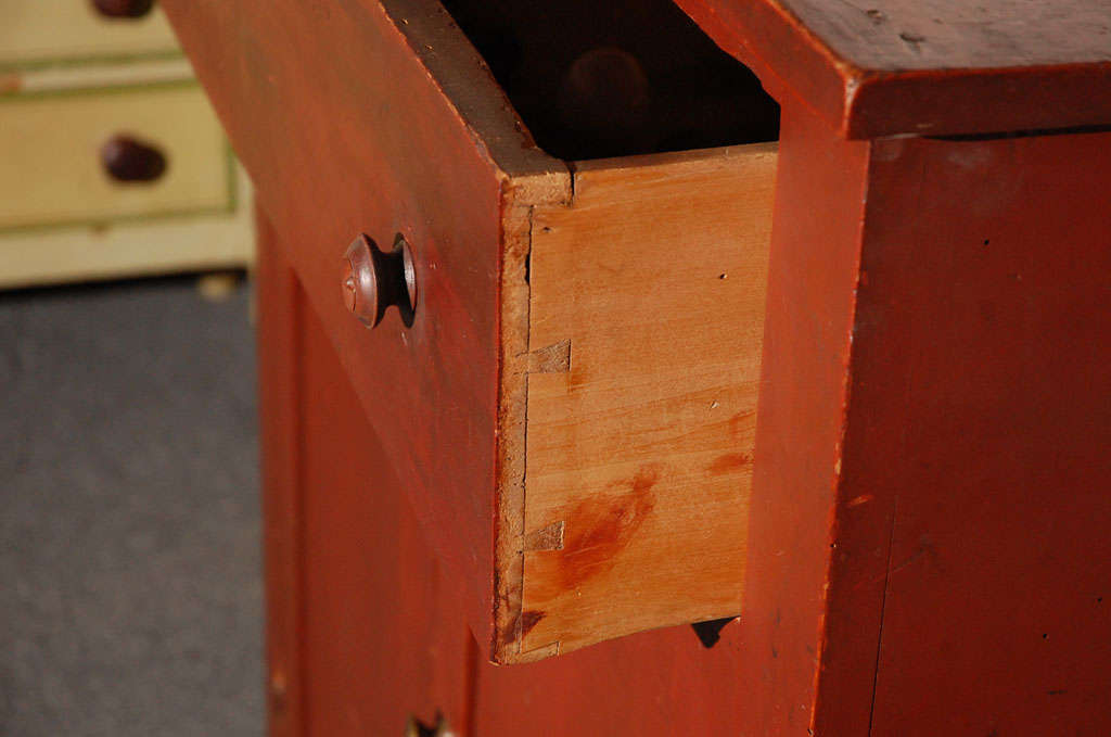 19thc Original Red Painted Jelly Cupboard From Maine For Sale 3