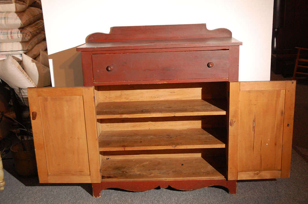 19thc Original Red Painted Jelly Cupboard From Maine For Sale 4