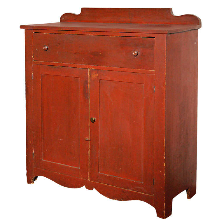 19thc Original Red Painted Jelly Cupboard From Maine For Sale