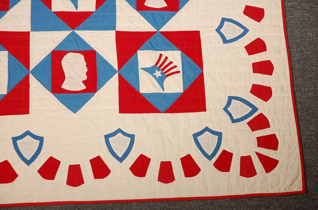 Early 20th Century Rare Patriotic Presidential Applique Quilt from 1925 For Sale