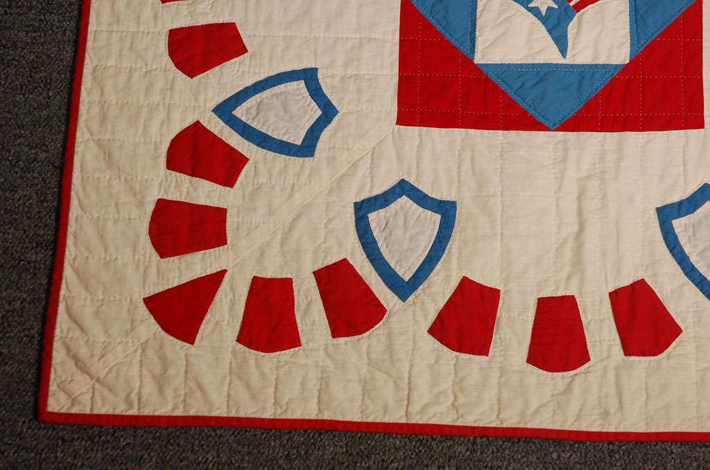 Cotton Rare Patriotic Presidential Applique Quilt from 1925 For Sale
