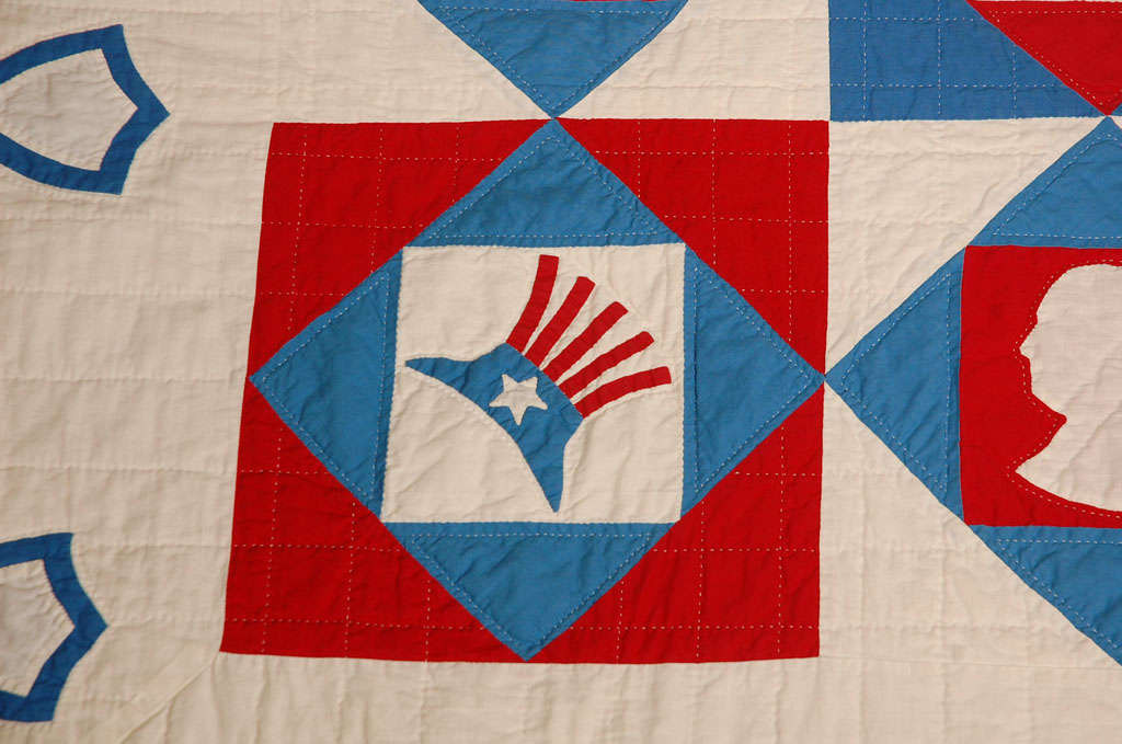 Rare Patriotic Presidential Applique Quilt from 1925 For Sale 1