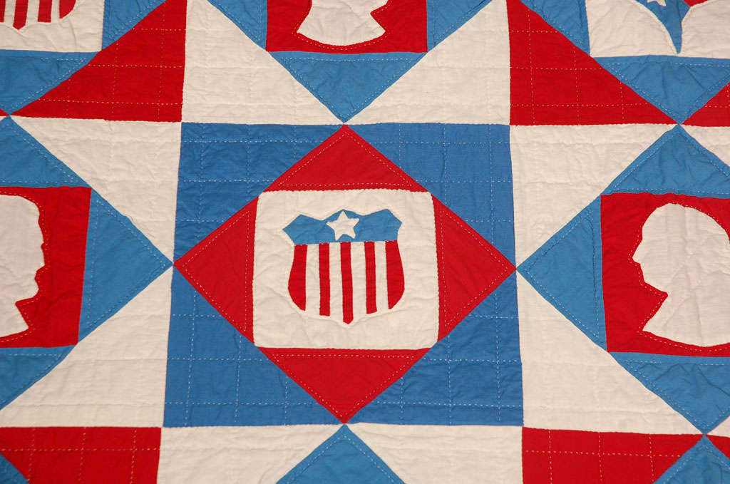 Rare Patriotic Presidential Applique Quilt from 1925 For Sale 2