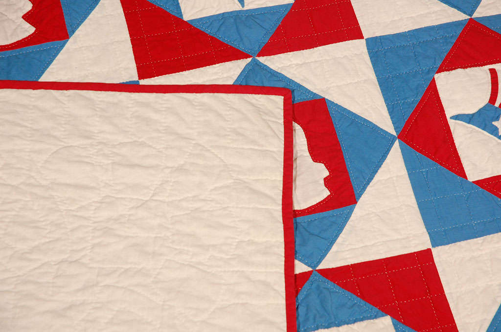 Rare Patriotic Presidential Applique Quilt from 1925 For Sale 3