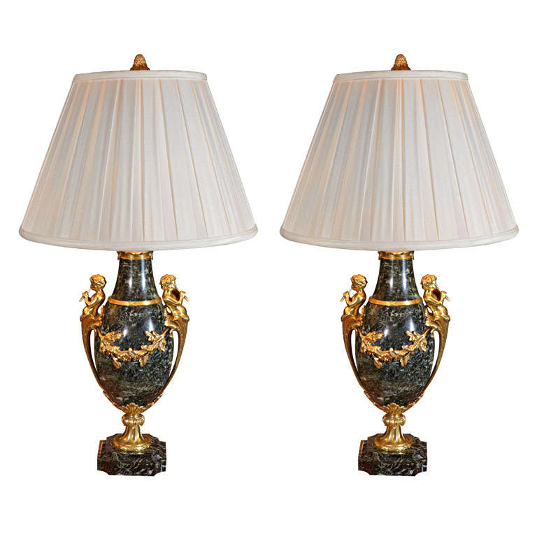 19th c French marble and bronze dore urn lamps