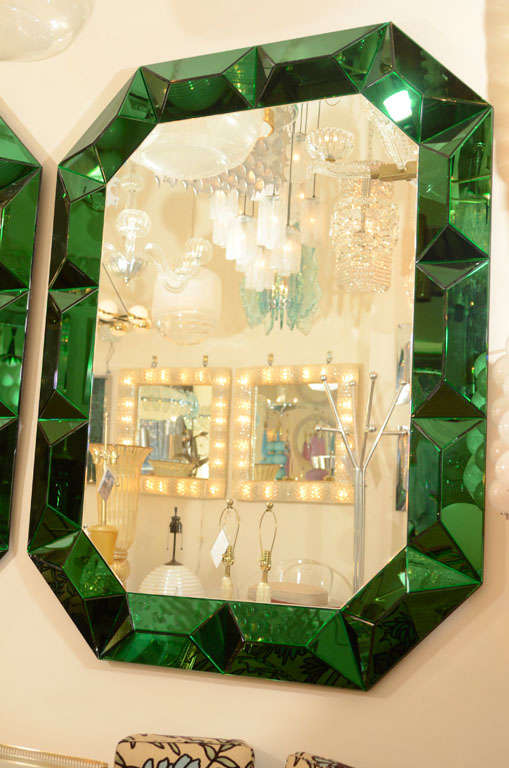 Large octagonal mirror with faceted green glass surround 2