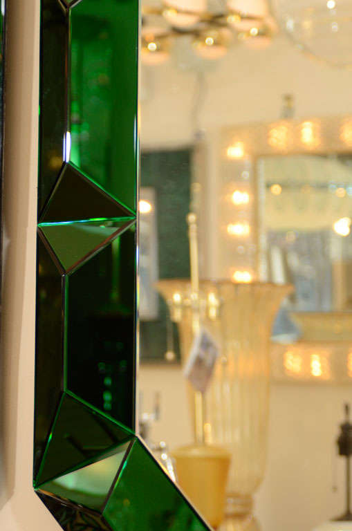 Large octagonal mirror with faceted green glass surround 3