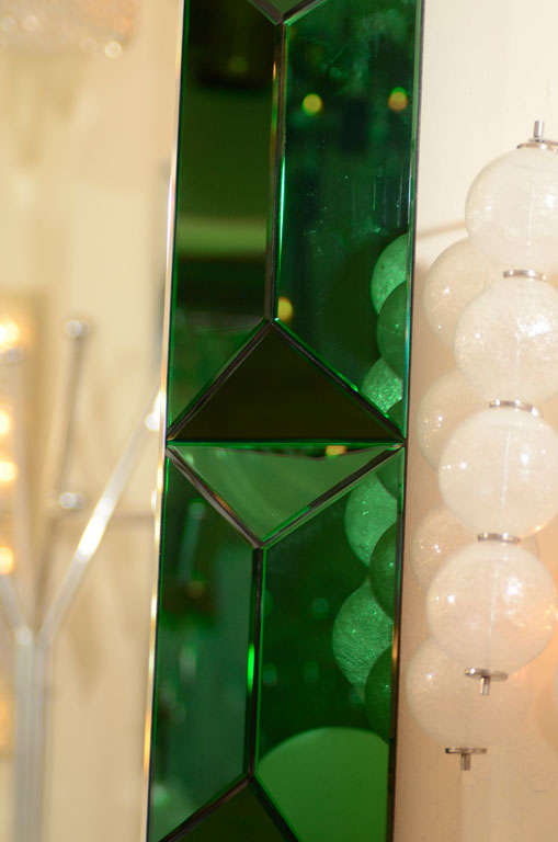 Large octagonal mirror with faceted green glass surround 4