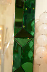 Large octagonal mirror with faceted green glass surround image 4