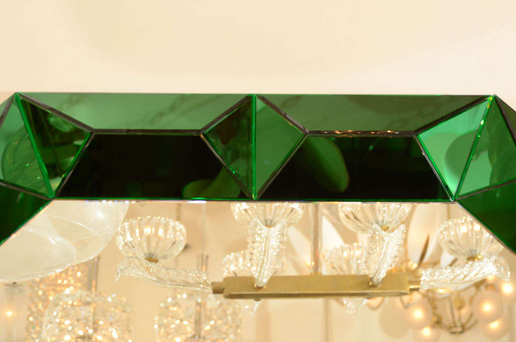 Large octagonal mirror with faceted green glass surround 5