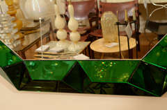 Large octagonal mirror with faceted green glass surround image 6
