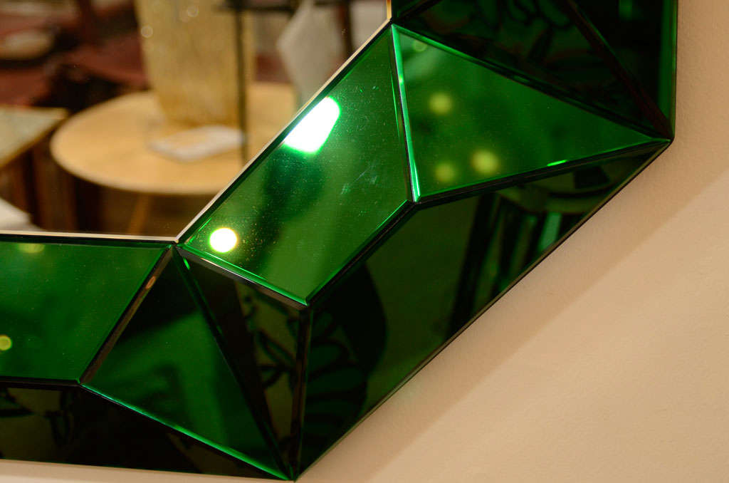 Large octagonal mirror with faceted green glass surround 7