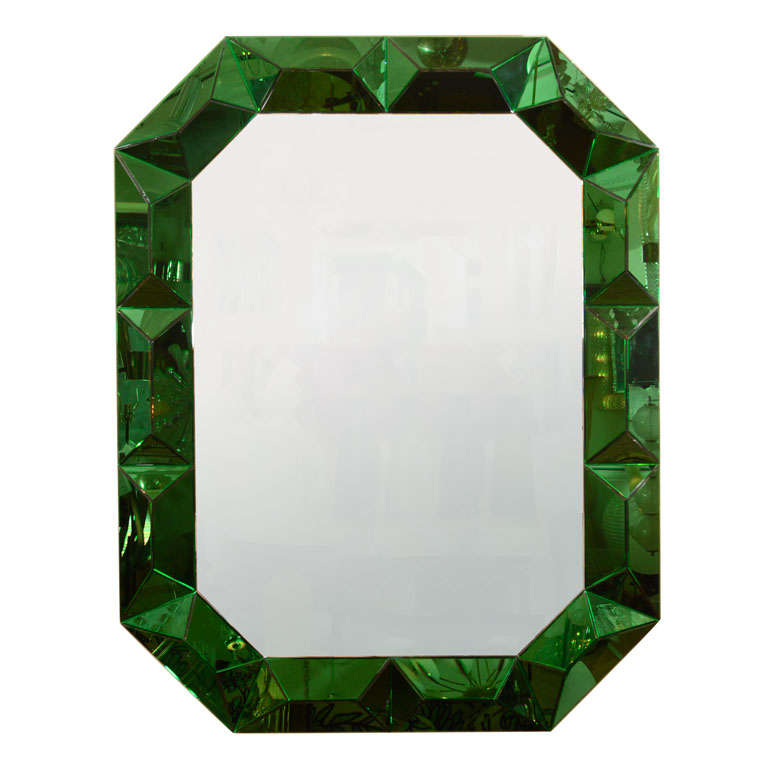 Large octagonal mirror with faceted green glass surround