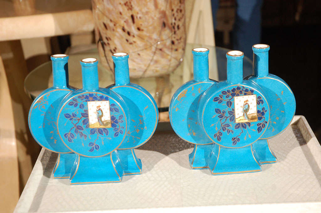 French pair of hand painted Aesthetic vases.