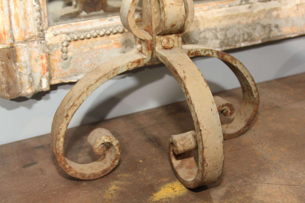 Tall Pair of Scrolled Andirons In Distressed Condition For Sale In Seattle, WA