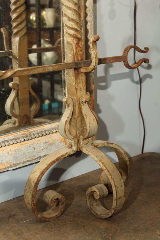 Tall Pair of Scrolled Andirons For Sale 3