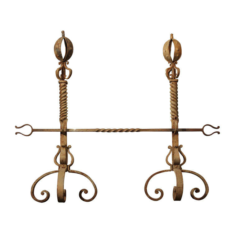 Tall Pair of Scrolled Andirons For Sale