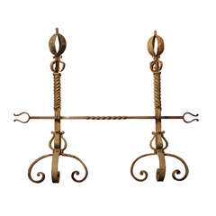 pair scrolled andirons