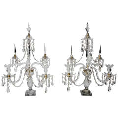 Pair of 19th Century Five Branch Cut Crystal Candelabras