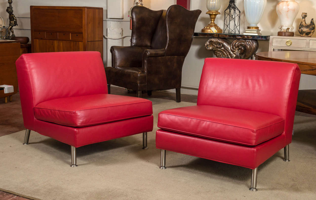 Great Looking Pair Of Lounge Chairs From Italy, By Minotti. Both Covered In  A. Modern Pair Of Italian Red Leather ...