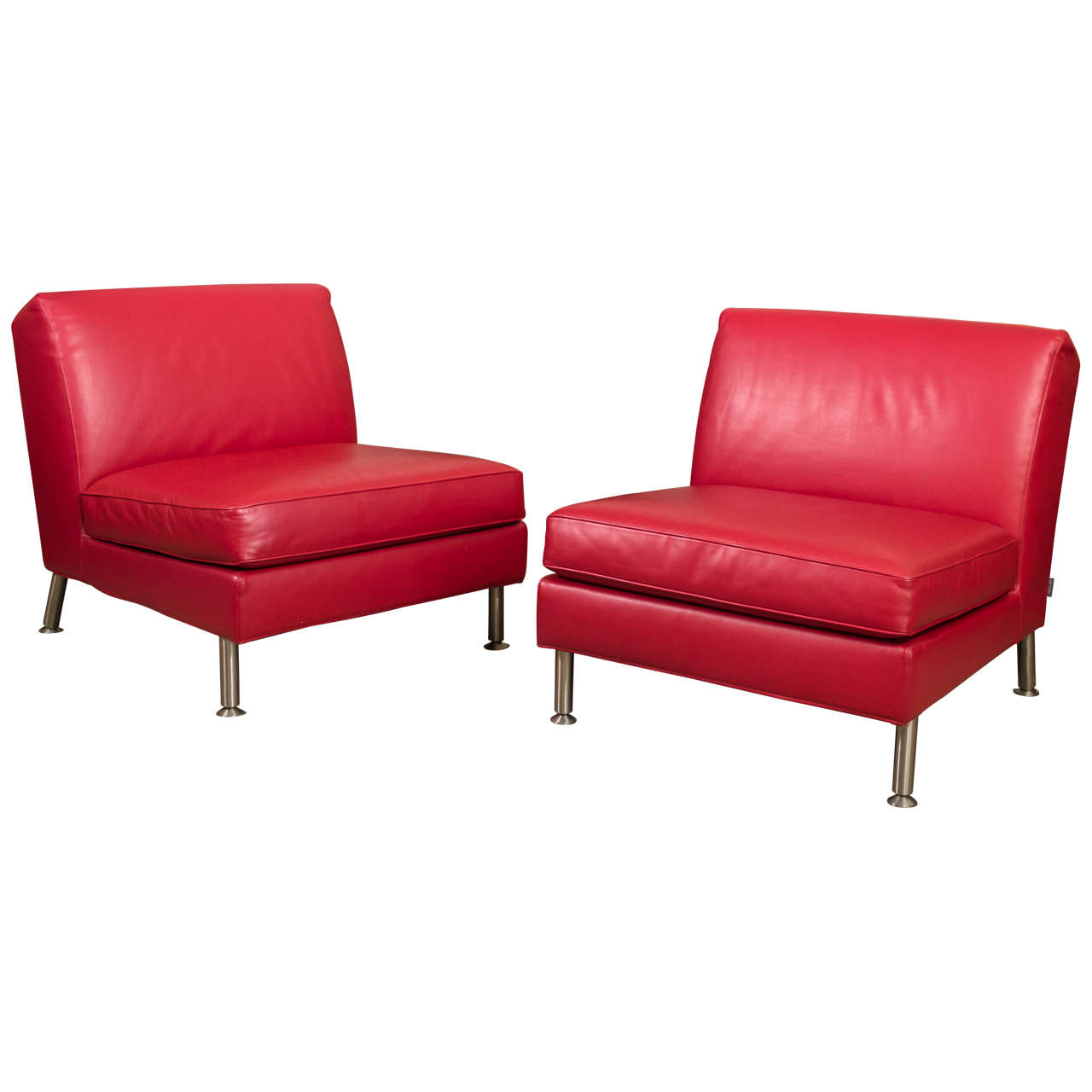 Pair Of Italian Red Leather Lounge Chairs By Minotti 1