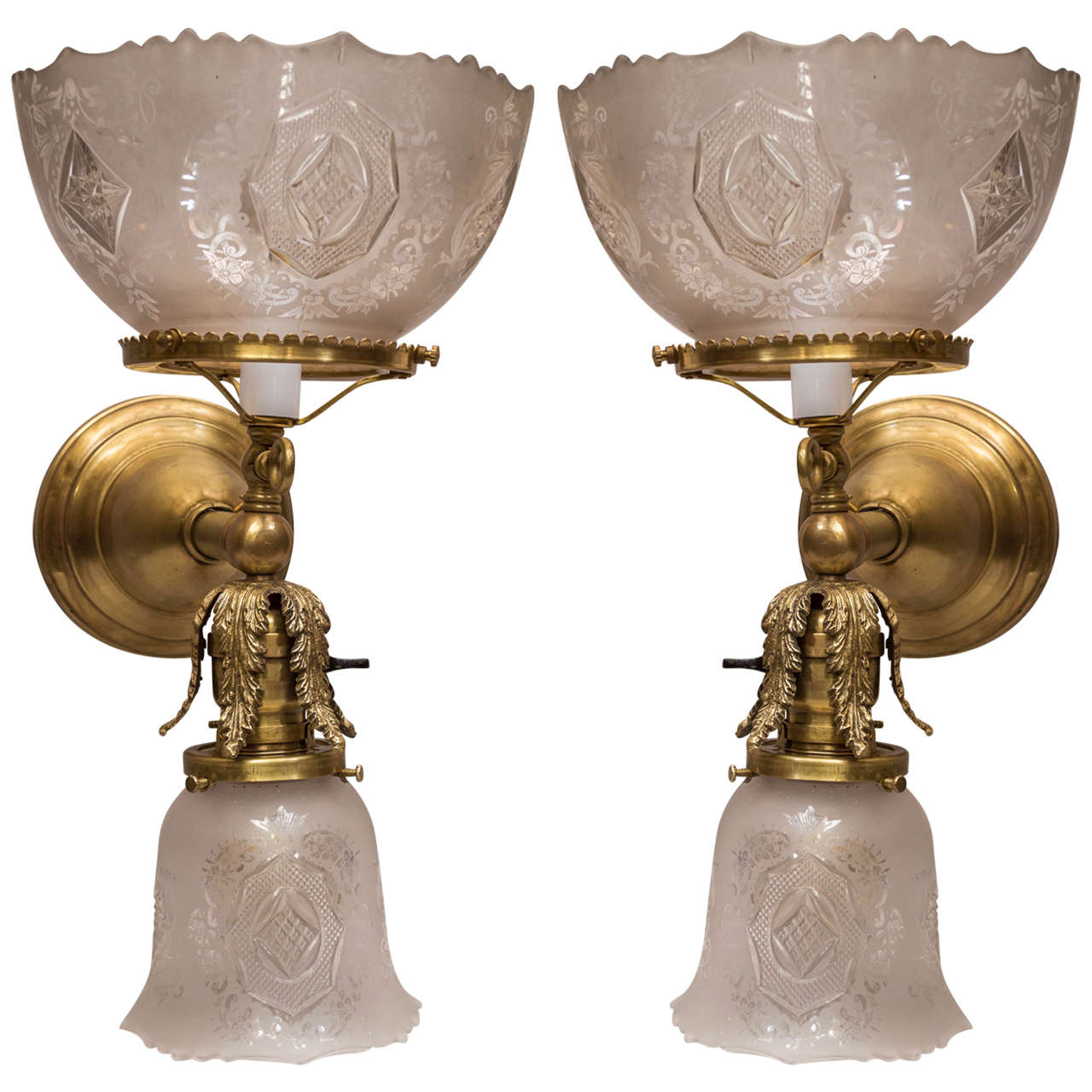 Pair Of Late Victorian Two Arm Sconces One Arm Gas And