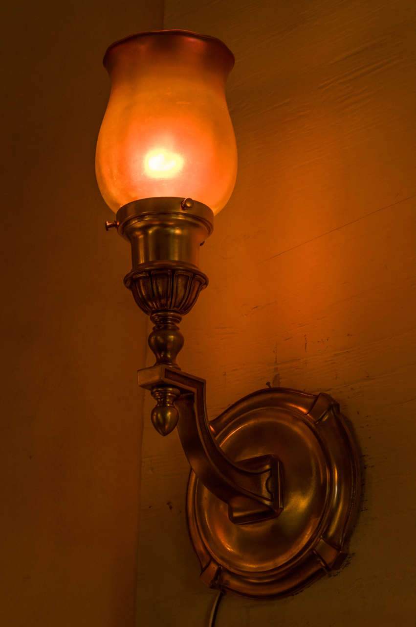 American Pair of Bronze and Art Glass Sconces by 'Sterling Bronze Co.', N.Y For Sale