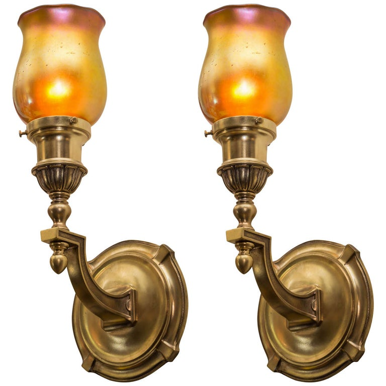 Pair of Bronze and Art Glass Sconces by 'Sterling Bronze Co.', N.Y For Sale