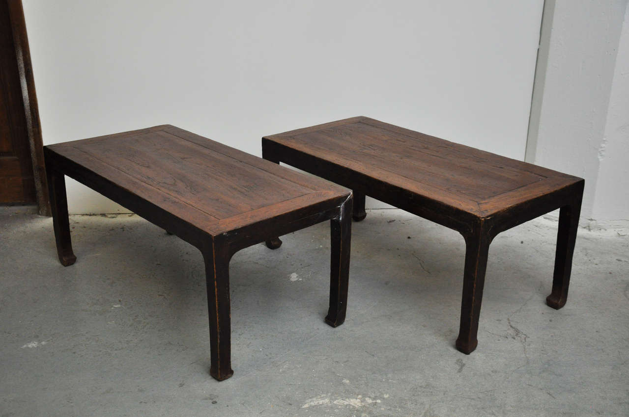 19th century pair of Chinese coffee or side tables. Beautifully constructed of wood. Originally used for meals while seated on the floor.   Dimensions: 44.5