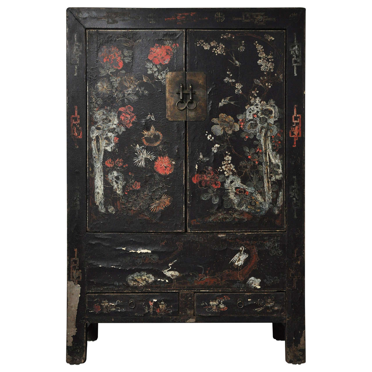 20th Century Chinese Black Lacquer Cabinet With Fl Design For