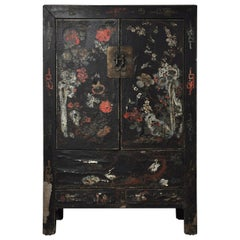 20th Century Chinese Black Lacquer Cabinet with Floral Design