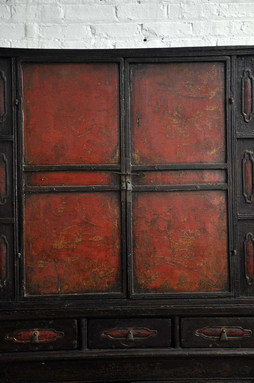 18th Century Painted Chinese Black Lacquer Two-Piece Cabinet In Fair Condition For Sale In Chicago, IL