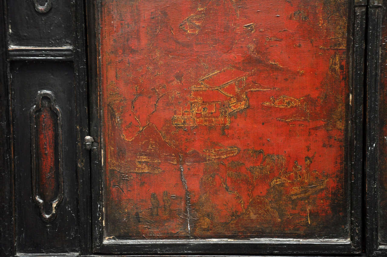 Wood 18th Century Painted Chinese Black Lacquer Two-Piece Cabinet For Sale