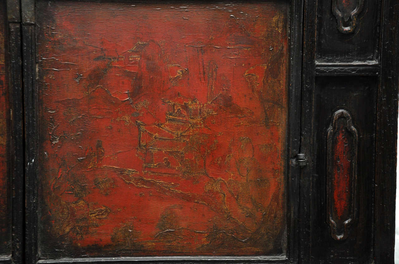 18th Century Painted Chinese Black Lacquer Two-Piece Cabinet For Sale 1