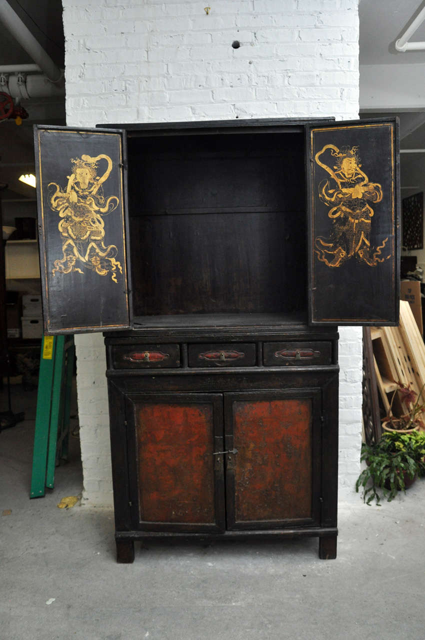 18th Century Painted Chinese Black Lacquer Two-Piece Cabinet For Sale 3