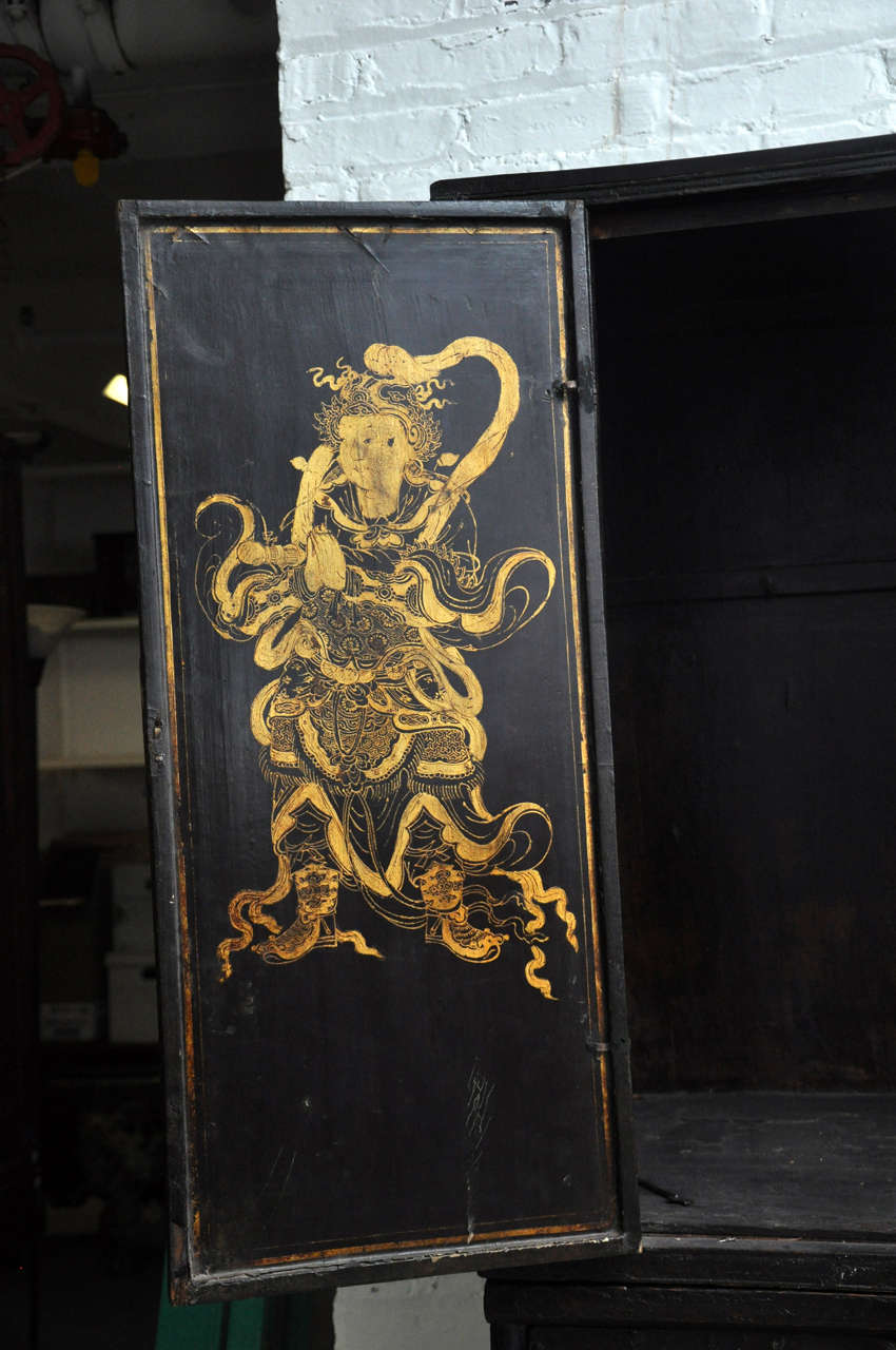 18th Century Painted Chinese Black Lacquer Two-Piece Cabinet For Sale 4