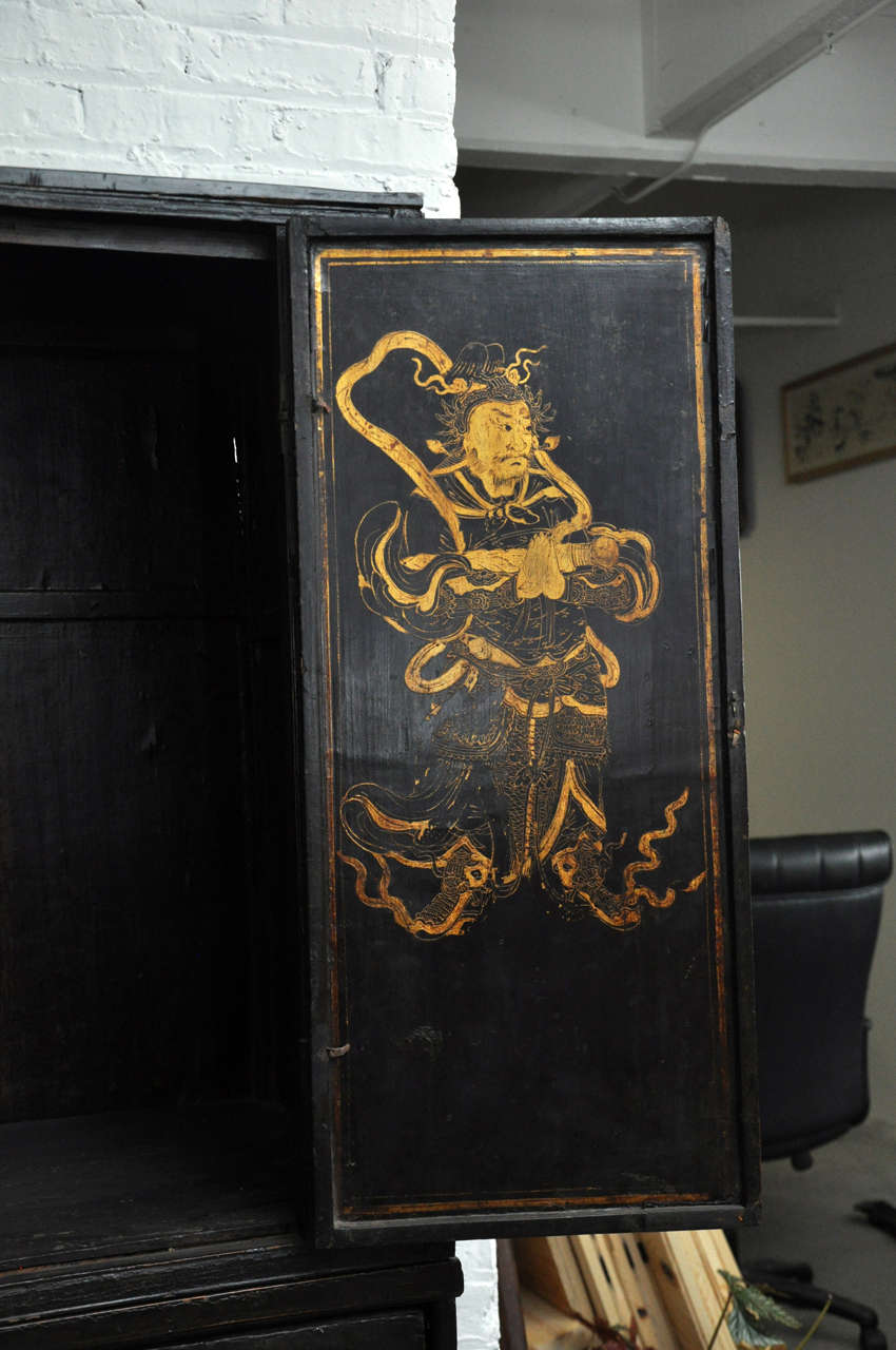 18th Century Painted Chinese Black Lacquer Two-Piece Cabinet For Sale 5