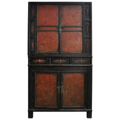 18th Century Painted Chinese Black Lacquer Two-Piece Cabinet