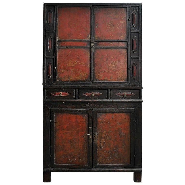 18th Century Painted Chinese Black Lacquer Two-Piece Cabinet For Sale