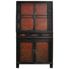 18th Century Painted Chinese Black Lacquer Two Piece Cabinet