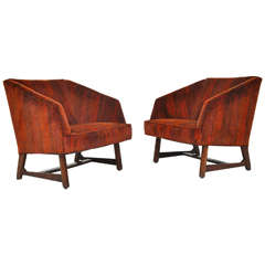 Harvey Probber Lounge Chairs in Jack Lenor Larsen Velvet