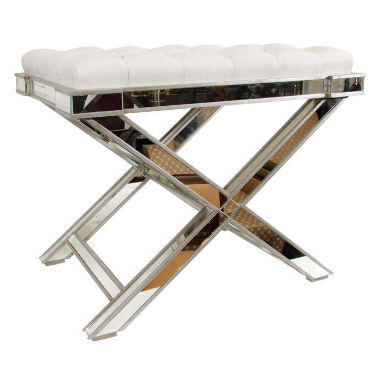 Hollywood Mirrored X Bench At 1stdibs