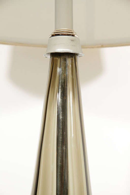 Italian Pair of Murano Smoked Glass Table Lamps