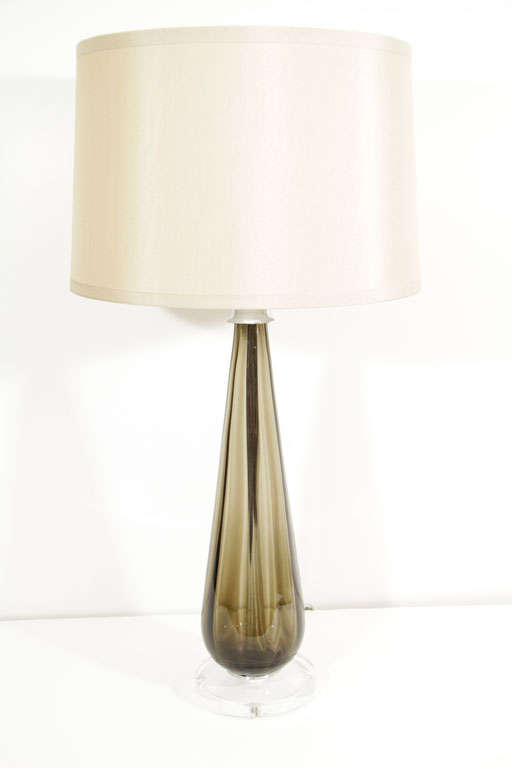 Pair of Murano Smoked Glass Table Lamps 1