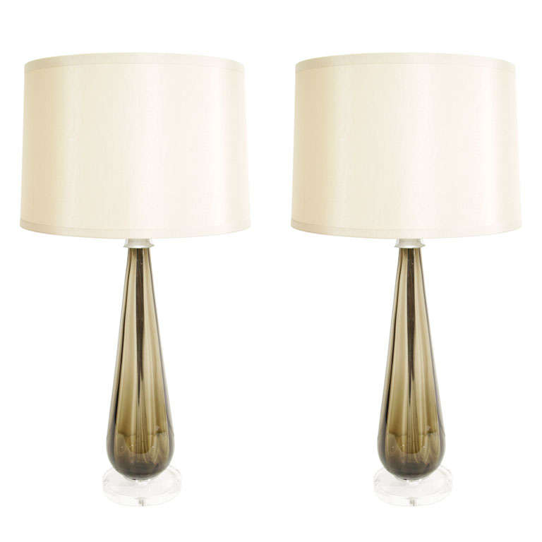 Pair of Murano Smoked Glass Table Lamps